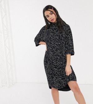 Черное трикотажное платье-футболка с принтом -Черный Monki