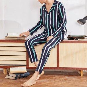 Мужской Пижама в полоску с лацканами на пуговицах SHEIN. Цвет: многоцветный