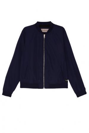 Синяя куртка-бомбер на молнии Calvin Klein. Цвет: синий
