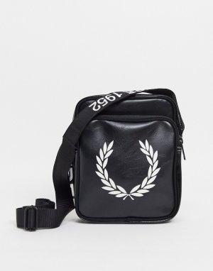 Черная сумка через плечо с большим контрастным логотипом -Черный Fred Perry