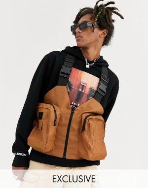 Темно-оранжевый жилет с карманами в стиле милитари COLLUSION-Светло-коричневый Collusion