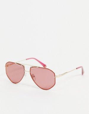 Солнцезащитные очки с двойной планкой в области бровей стиле унисекс -Розовый цвет Polaroid