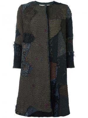 Пальто с лоскутным дизайном By Walid. Цвет: зелёный