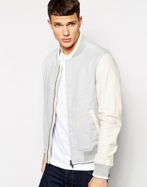 Клубная куртка с контрастными кожаными рукавами DKNY. Цвет: серый