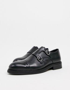 Черные кожаные монки -Черный Selected Homme