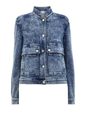 Джинсовая куртка с воротом-стойкой и эффектом кислотной стирки STELLA McCARTNEY. Цвет: синий