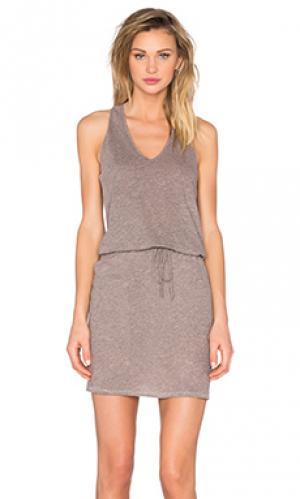 Платье с v-образным вырезом и y-образными шлейками сзади Lanston. Цвет: серый
