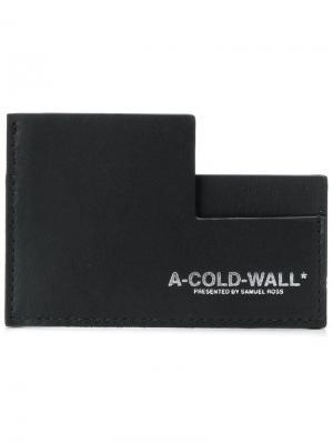 Визитница с отделениями для карточек асимметричного дизайна A-Cold-Wall*. Цвет: черный