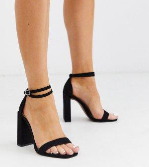 Черные босоножки на каблуке для широкой стопы ASOS DESIGN-Черный цвет
