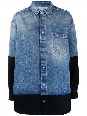 Двухцветная джинсовая куртка-рубашка MM6 Maison Margiela. Цвет: синий