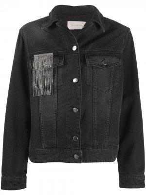 Джинсовая куртка с бахромой из кристаллов Christopher Kane. Цвет: черный