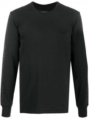 Топ с длинными рукавами и логотипом Rag & Bone. Цвет: черный
