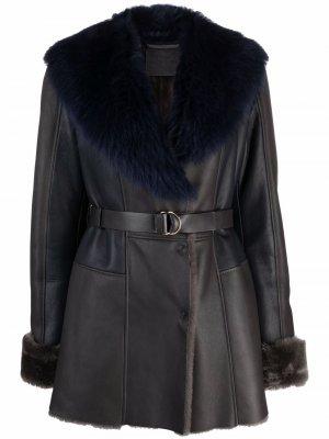 Пальто с меховым воротником и поясом Desa 1972. Цвет: синий