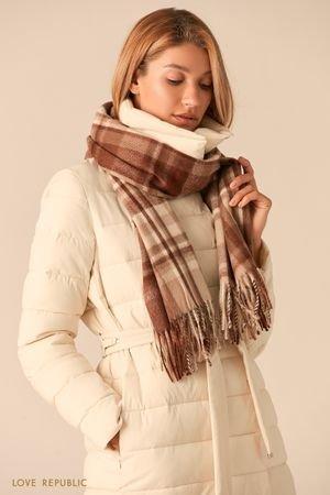 Теплый бежевый шарф с принтом в клетку LOVE REPUBLIC