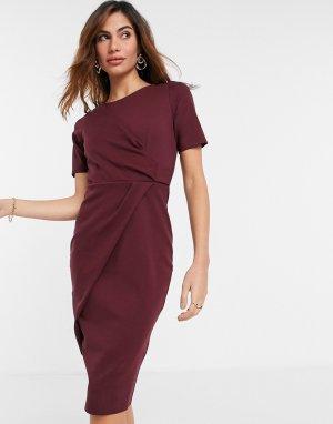 Платье миди красного ягодного цвета с короткими рукавами -Красный Closet London