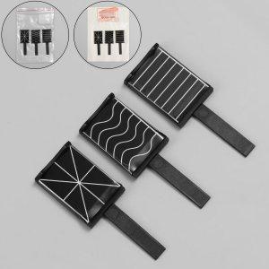 Набор магнитов для лака, 3 вида, 6 × 2 см, цвет чёрный Queen fair