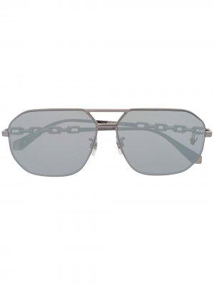 Солнцезащитные очки-авиаторы Off-White. Цвет: серый