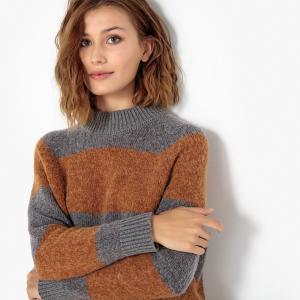 Пуловер со стоячим воротником в полоску SELECTED FEMME. Цвет: серый/темно-бежевый