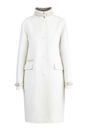 Пальто из кашемира от Loro Piana с деталями кожи и меха норки ENRICO MANDELLI. Цвет: белый