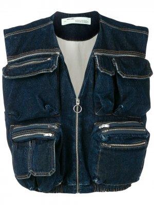 Джинсовый жилет с карманами Off-White. Цвет: синий