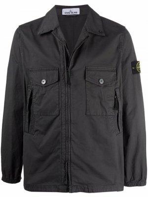 Куртка-рубашка на молнии Stone Island. Цвет: серый