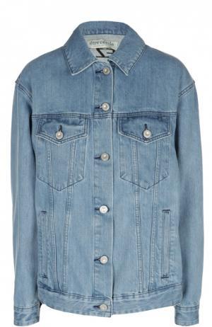 Джинсовая куртка свободного кроя с принтом Etre Cecile. Цвет: голубой