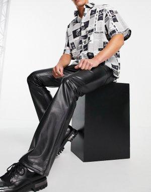 Черные расклешенные джинсы из искусственной кожи -Черный цвет ASOS DESIGN