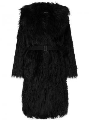 Пальто из искусственного меха с поясом Goen.J. Цвет: черный