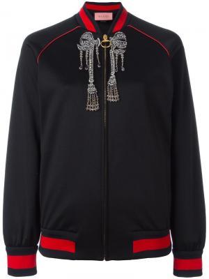 Куртка-бомбер с блестящей отделкой Gucci. Цвет: чёрный