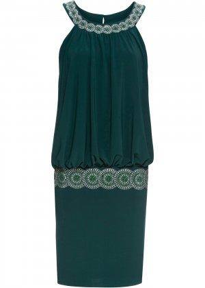 Коктейльное платье bonprix. Цвет: сине-зеленый
