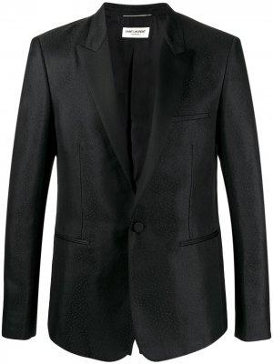 Жаккардовый пиджак в мелкую точку Saint Laurent. Цвет: черный