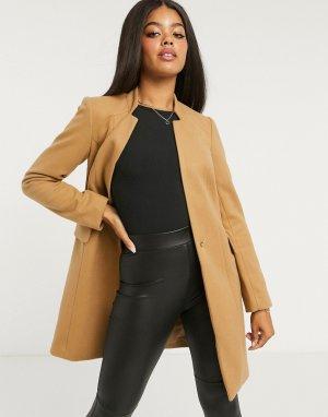 Бежевое пальто кромби с карманами на молнии -Светло-коричневый Lipsy
