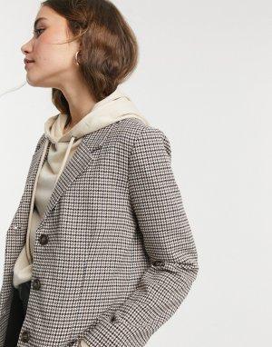 Коричневый пиджак в клетку -Коричневый цвет BB Dakota