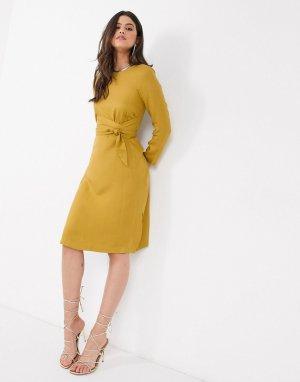 Платье миди А-силуэта горчичного цвета Closet-Желтый Closet London