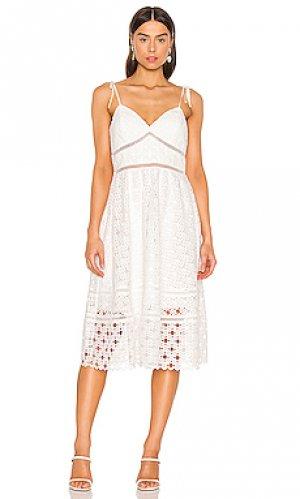 Платье миди lousiana Bardot. Цвет: белый
