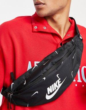 Черная сумка-кошелек на пояс с принтом логотипа Heritage-Черный цвет Nike
