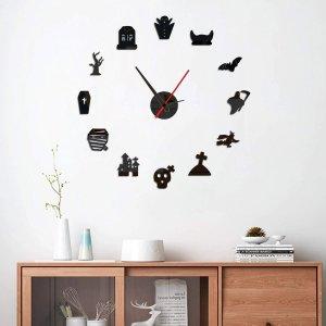Настенные часы с зеркальной поверхностью в форме на хэллоуин SHEIN. Цвет: чёрный