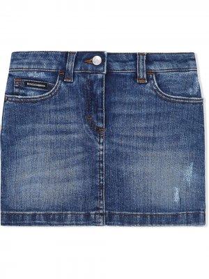 Джинсовая юбка с цветочной аппликацией Dolce & Gabbana Kids. Цвет: синий