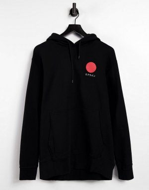 Черный свитшот без застежки с капюшоном Japanese Sun-Черный цвет Edwin