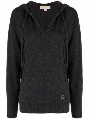 Logo-plaque knitted hoodie Michael Kors. Цвет: серый