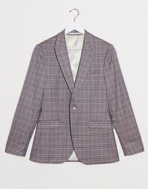 Розовый однобортный пиджак зауженного кроя в клетку -Розовый цвет Topman