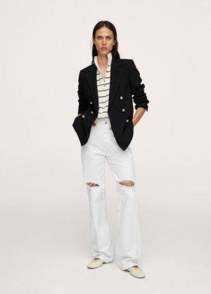 Твидовый пиджак с пуговицами - Gold Mango. Цвет: черный