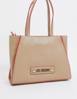 Бежевая большая сумка-тоут с платком -Кремовый Love Moschino