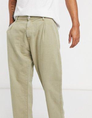 Широкие джинсы бежевого цвета -Бежевый Bershka