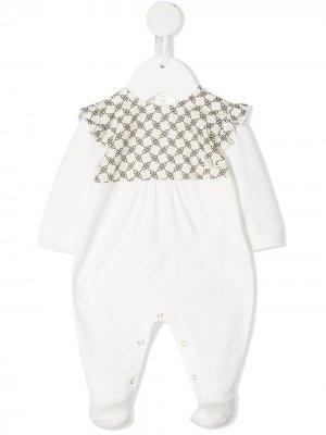 Пижама с оборками Elisabetta Franchi La Mia Bambina. Цвет: белый