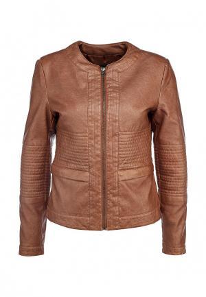 Куртка кожаная Baon. Цвет: коричневый
