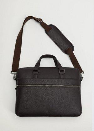 Портфель тоте с наружным карманом - Grain Mango. Цвет: коричневый