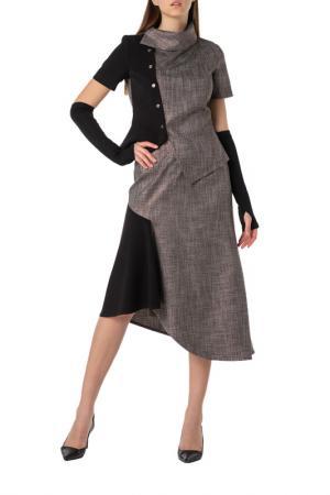 Костюм: жакет, юбка Adzhedo. Цвет: черный, бронза
