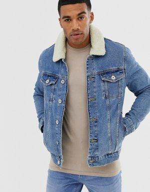 Синяя джинсовая куртка с подкладкой из искусственного меха -Синий River Island
