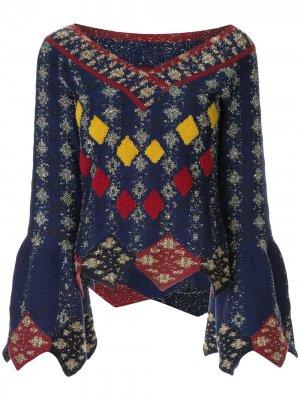 Вязаный свитер Solitaire с узором аргайл Peter Pilotto. Цвет: синий